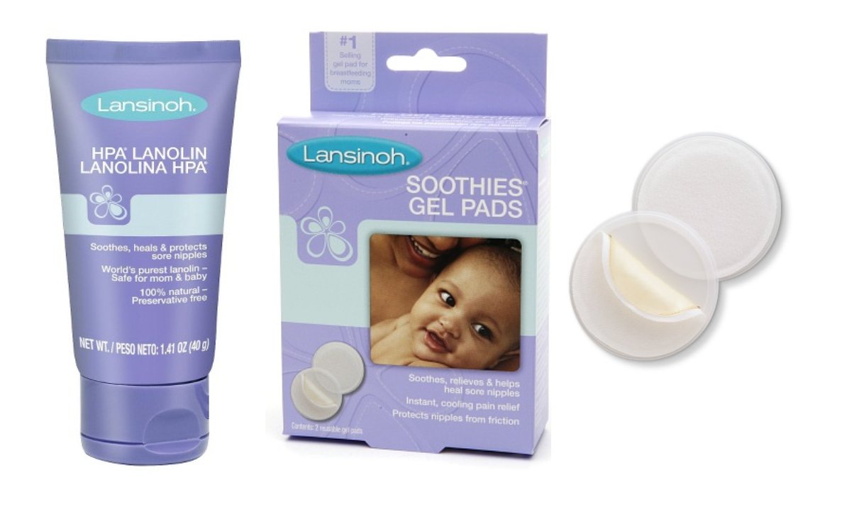 Nursing items provided by labor & delivery at the hospital, lanolin, soothies gel pads
