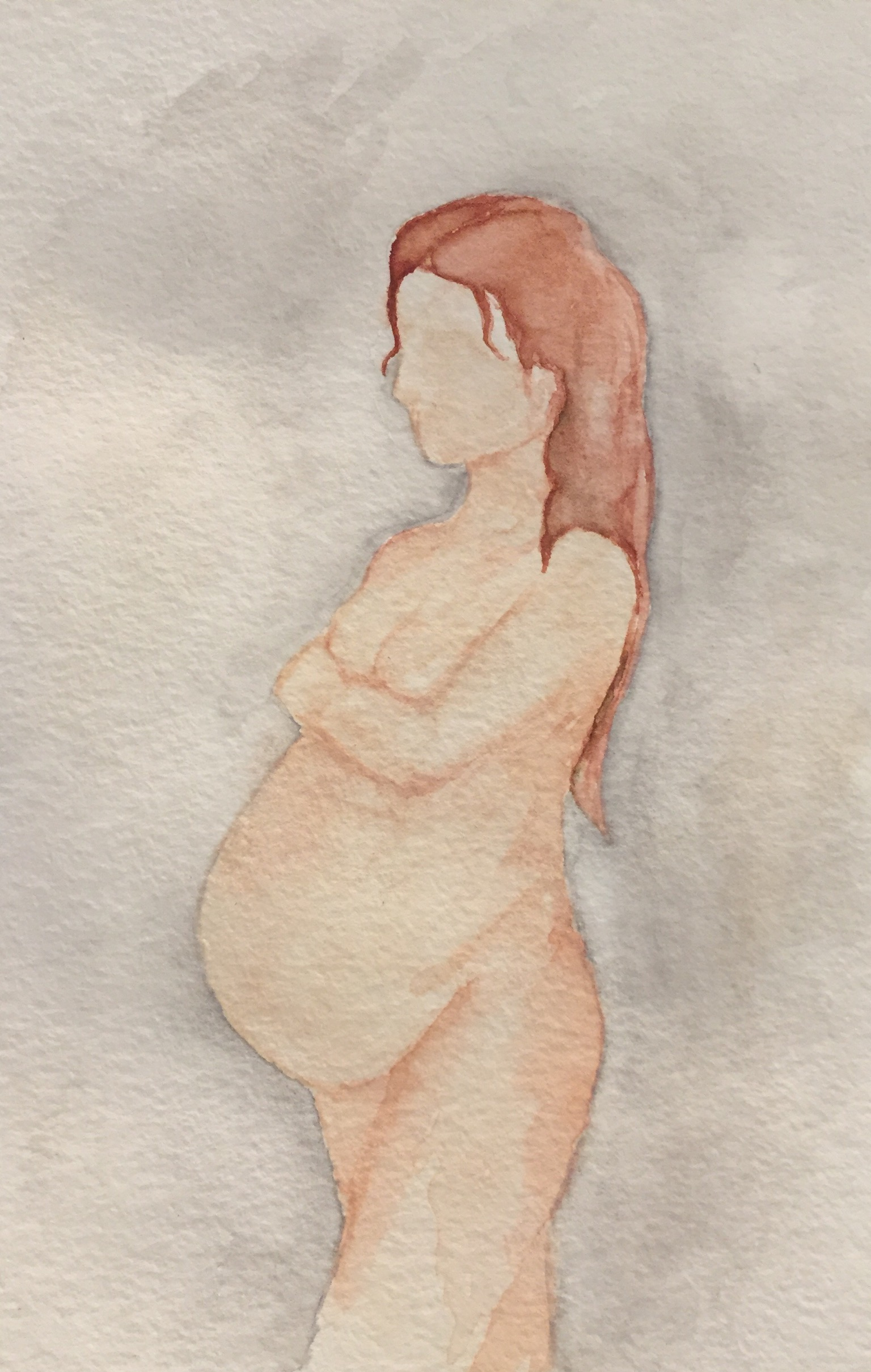 pregnant art, 10101, watercolor, birth story, frombellytobirth.com